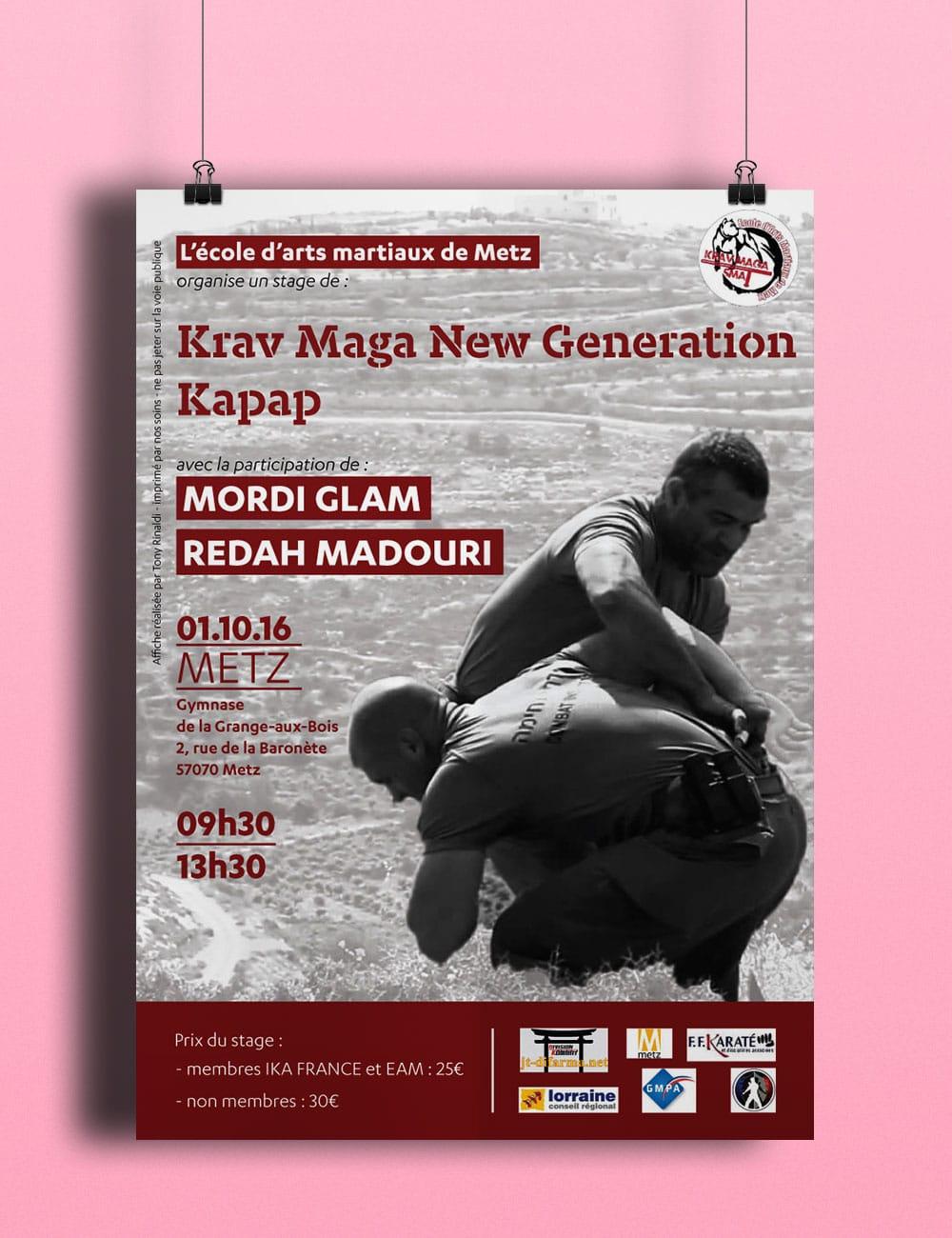 affiche stage Krav Maga et KAPAP école d'arts martiaux de Metz