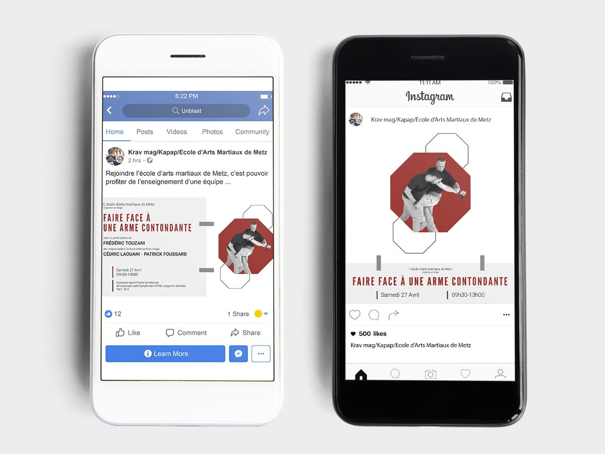 Création des visuels Facebook et Instagram pour l'école d'arts martiaux de Metz