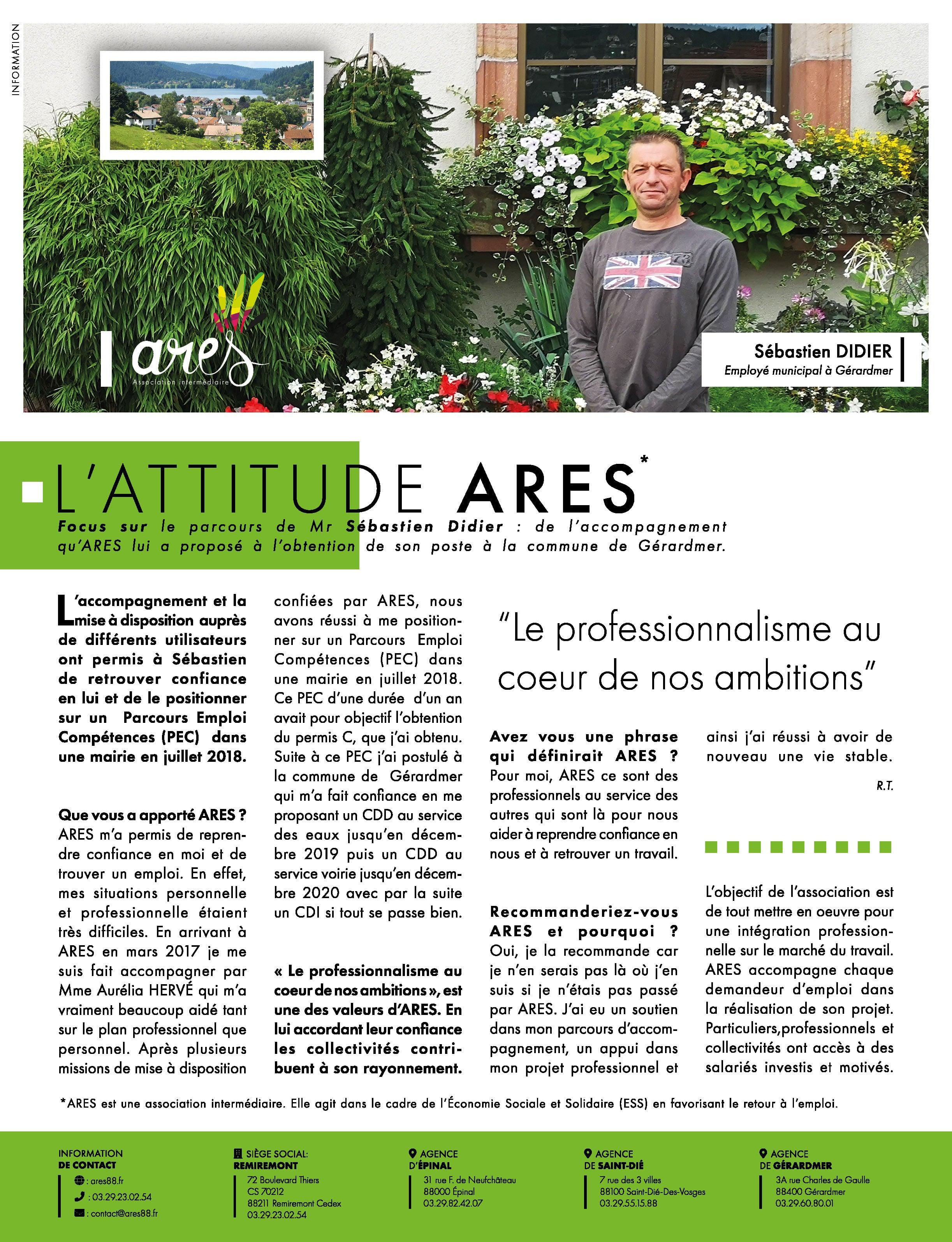 Création d'article de presse - ARES - Vosges - 100% Vosges