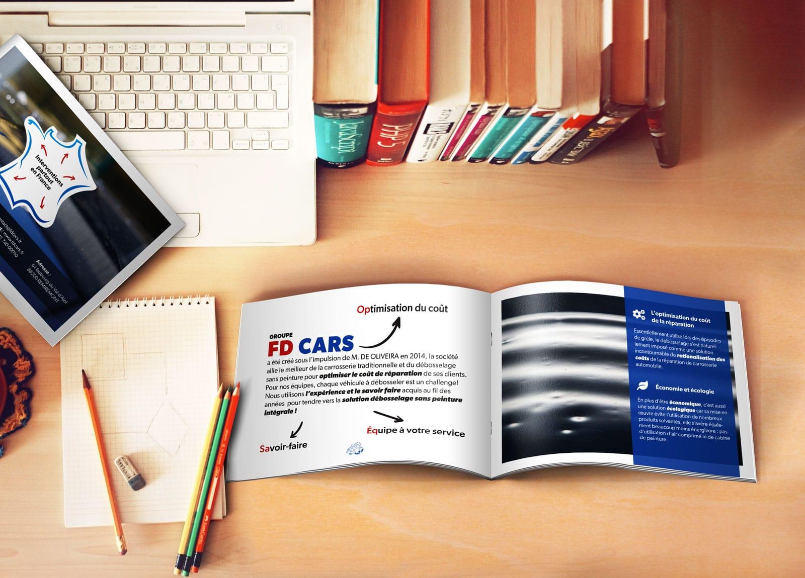 Création de la plaquette PRO de FD CARS - Remiremont - Vosges