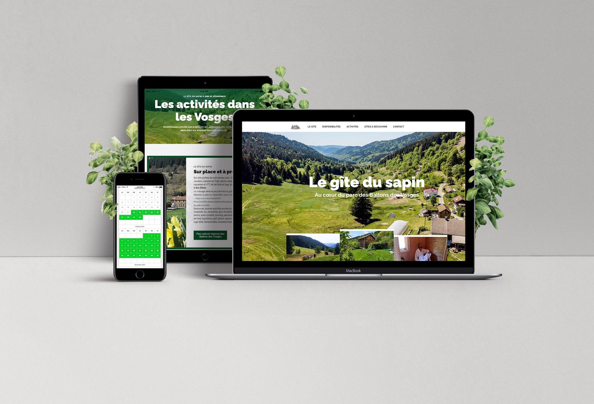 Création du site internet du gîte du sapin à SAPOIS dans les Vosges